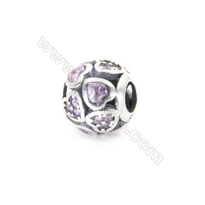 Sterling Silver Zircon Micropave European Beads, x 1 Piece, Round, Diameter : 11mm, Hole 4mm