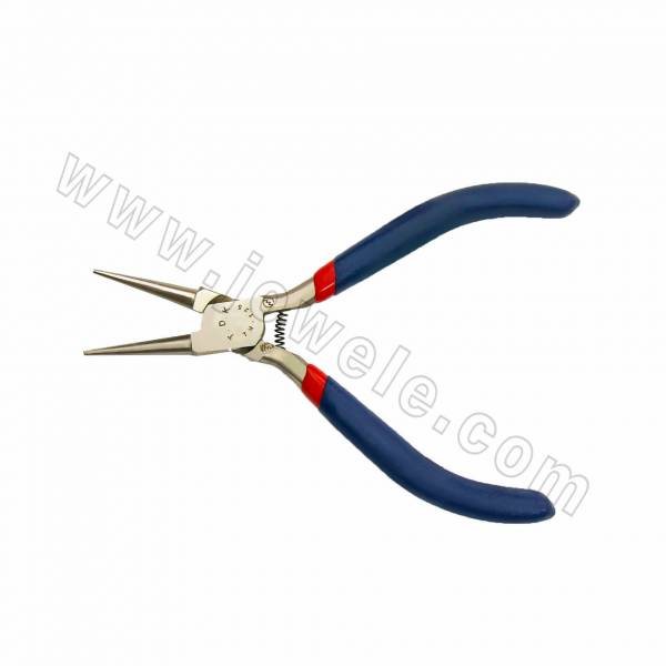 304 Stainless Steel Jewelry Pliers, Round Nose Pliers, Red & Blue, Size 125x47mm, 12pcs/pack