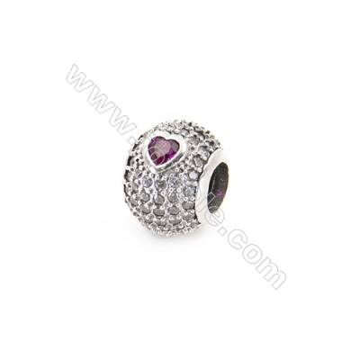 Sterling Silver Zircon Micropave European Beads, x 1 Piece, Round, Diameter 11mm, Hole 4mm