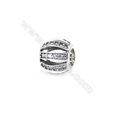 Sterling Silver Zircon European Beads, x 1 Piece, Round Cage, Diameter 9mm, Hole 4.5mm