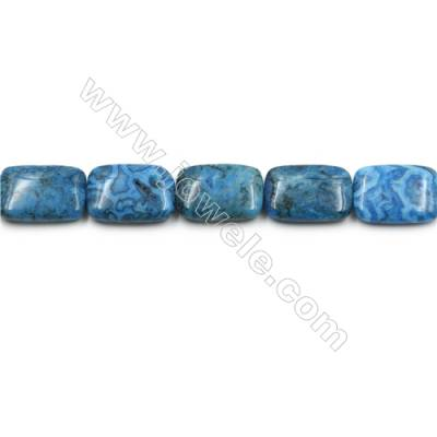 "Blue Crazy Agate Gemstone Beads Strands, Rectangle,  Size 18x25mm, Hole 0.7mm, 15~16""/strand"