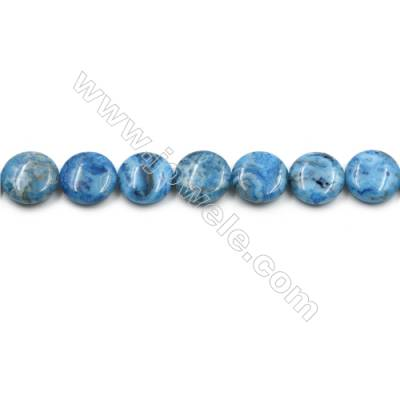"Blue Crazy Agate Gemstone Beads Strands, Flat Round, Diameter 15mm, Hole 0.7mm, 15~16""/strand"