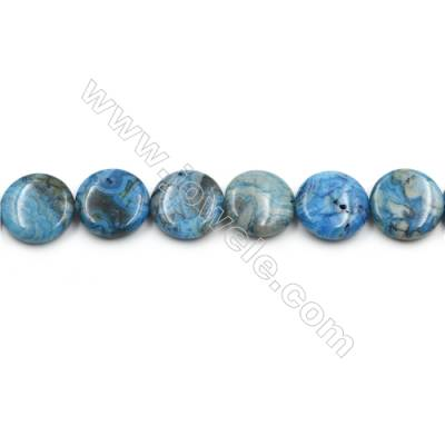 "Blue Crazy Agate Gemstone Beads Strands, Flat Round, Diameter 20mm, Hole 0.7mm, 15~16""/strand"
