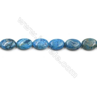 "Blue Crazy Agate Gemstone Beads Strands, Flat Oval, Size 13x18mm, Hole 0.7mm, 15~16""/strand"