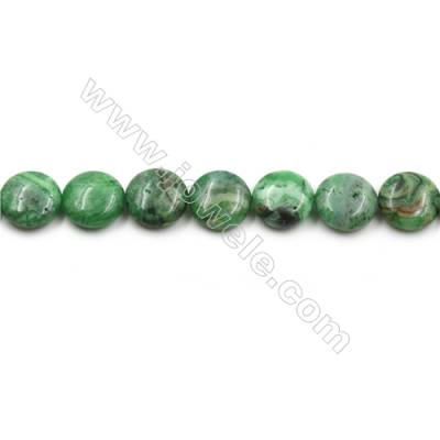 "Green Crazy Agate Gemstone Beads Strands, Flat Round, Diameter 15mm, Hole 0.7mm, 15~16""/strand"