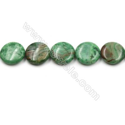 "Green Crazy Agate Gemstone Beads Strands, Flat Round, Diameter 20mm, Hole 0.7mm, 15~16""/strand"