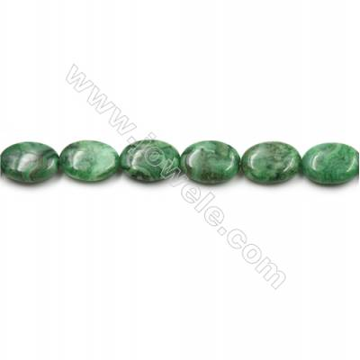 "Green Crazy Agate Gemstone Beads Strands, Flat Oval, Size 13x18mm, Hole 0.7mm, 15~16""/strand"