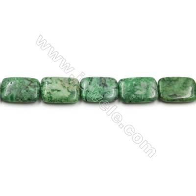 "Green Crazy Agate Gemstone Beads Strands, Rectangle, Size 18x25mm, Hole 0.7mm, 15~16""/strand"