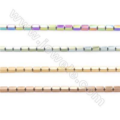 Various Colors Plated Hematite Beads Strand, Faceted Cuboid, Size 4x2x2mm, Hole 0.8mm, about 100 beads/strand 15~16""