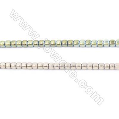 Golden Plated Hematite Beads Strand, Cube, Size 4x4x4mm, Hole 0.8mm, about 100 beads/strand 15~16""