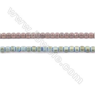 Frosted Green Plated Hematite Beads Strand, Cube, Size 3x3x3mm, Hole 0.8mm, about 135 beads/strand 15~16""