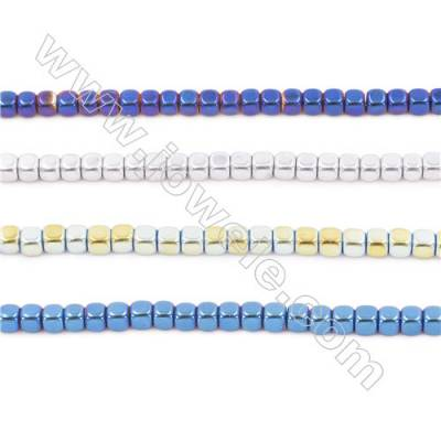 """Various Color Plated Hematite Beads Strand, Cube, Size 2x2x2mm, Hole 0.8mm, about 200 beads/strand 15~16"""""""