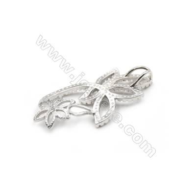 925 Sterling silver platinum plated CZ Pendants-D5769 16x33mm x 5 pcs Diameter 11mm Small Needle Diameter 0.8mm