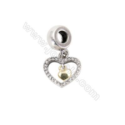 Sterling Silver European Beads, x 1 Piece, Heart in Heart, Size: 12x12mm