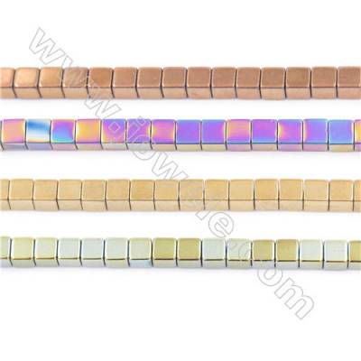 Various Colors Plated Hematite Beads Strand, Cube, Size 4x4mm, Hole 1mm, about 100 beads/strand, 15~16""