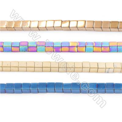 Various Colors Plated Hematite Beads Strand, Cube, Size 2x2mm, Hole 1mm, about 200 beads/strand  15~16""