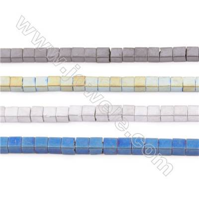 Various Colors Plated Hematite Beads Strand, Frosted Cube, Size 2x2mm, Hole 1mm, about 200 beads/strand  15~16""