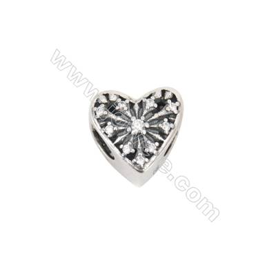 Sterling Silver Zircon Micropave European Beads, x 1 Piece, Heart, Size: 10x11mm, Hole 4.5mm