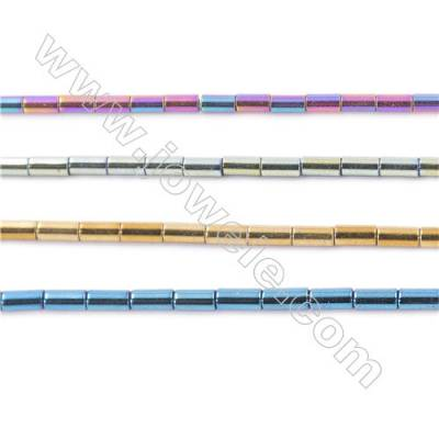Various Colors Plated Hematite Beads Strand, Column, Size 4x2mm, Hole 1mm, about 100 beads/strand  15~16""