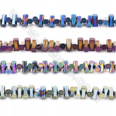 Various Colors Plated Hematite Beads Strand, Tube, Size 6x6x3mm, Hole 1mm, about 135 beads/strand 15~16""