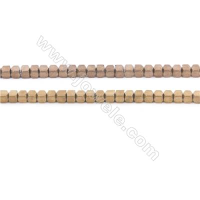 Various Colors Plated Frosted Hematite Beads Strand, Faceted Square, Size 2x2mm, Hole 1mm, about 200 beads/strand  15~16""