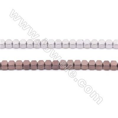 Two Colors Plated Hematite Beads Strand, Cube, Size 3x3mm, Hole 1mm, about 135 beads/strand  15~16""