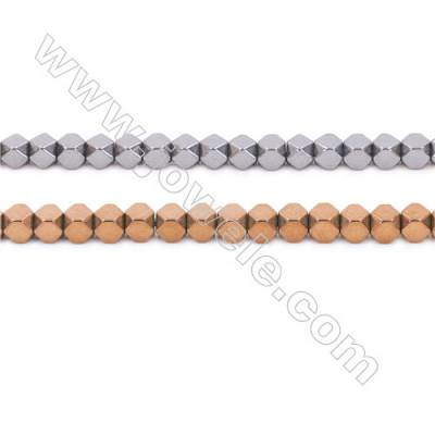Copper Plated Hematite Beads Strand, Cube, Size 3x3mm, Hole 1mm, about 135 beads/strand 15~16""