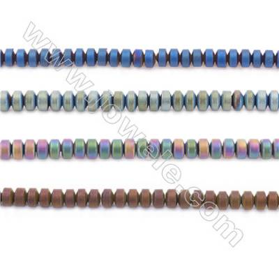 """Various Colors Plated Hematite Beads Strand, Frosted Abacus, Size 3x2mm, Hole 1mm, about 200 beads/strand 15~16"""""""