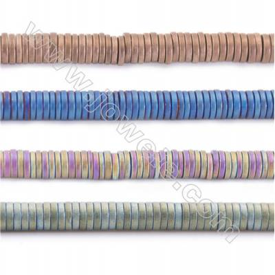Various Colors Plated Frosted Hematite Beads Strand, Flat Round, Size 4x1mm, Hole 1mm, about 390 beads/strand 15~16""