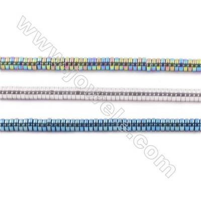 Colorful Plated Hematite Beads Strand, Flat Round, Size 3x1mm, Hole 1mm, about 390 beads/strand 15~16""