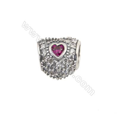 Sterling Silver Zircon Micropave European Beads, x 1 Piece, Heart, Size: 9x9mm, Hole 4.5mm