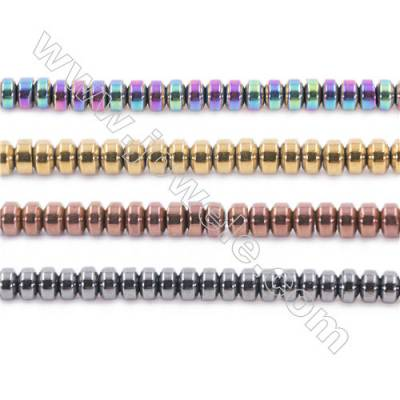 Various Colors Plated Hematite Beads Strand, Abacus, Size 3x2mm, Hole 1mm, about 200 beads/strand 15~16""