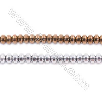 Different Colors Plated Hematite Beads Strand, Abacus, Size 4x2mm, Hole 1mm, about 200 beads/strand 15~16""