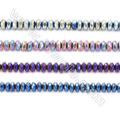 Various Colors Plated Hematite Beads Strand, Faceted Abacus, Size 4x2mm, Hole 1mm, about 200 beads/strand 15~16""