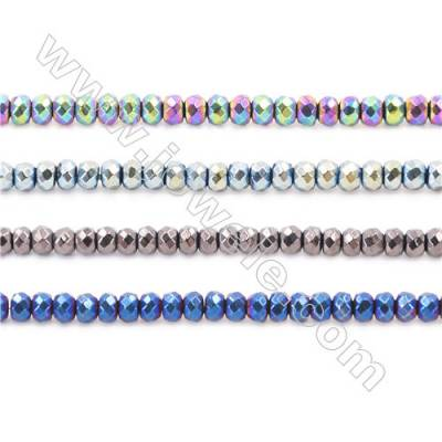 Various Colors Plated Hematite Beads Strand, Faceted Abacus, Size 3x2mm, Hole 1mm, about 200 beads/strand 15~16""