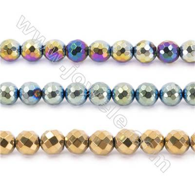 Various Color Plated Hematite Beads Strand, Faceted Round, Diameter 12mm, hole 1.5mm, about 34 beads/strand, 15~16""