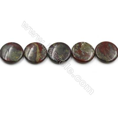 "Natural Dragon Blood Jasper Beads Strands, Flat Round, Diameter 30mm, Hole 0.7mm, 15~16""/strand"