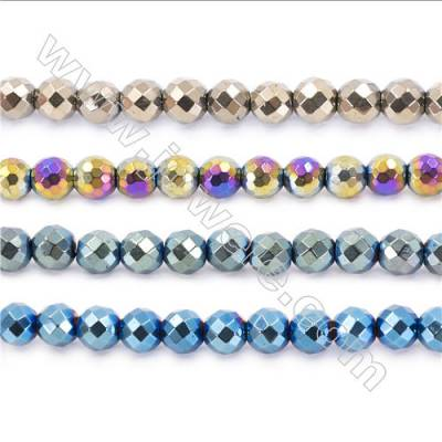 Various Color Plated Hematite Beads Strand, Faceted Round, Diameter 10mm, hole 1.5mm, about 40 beads/strand, 15~16""