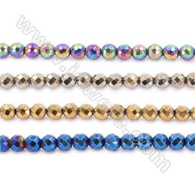 Various Color Plated Hematite Beads Strand, Faceted Round, Diameter 8mm, hole 1.5mm, about 50 beads/strand, 15~16""