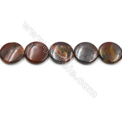 "Natural Iron Tiger Eye Gemstone Beads Strands, Flat Round, Diameter 30mm, Hole 0.7mm, 15~16""/strand"