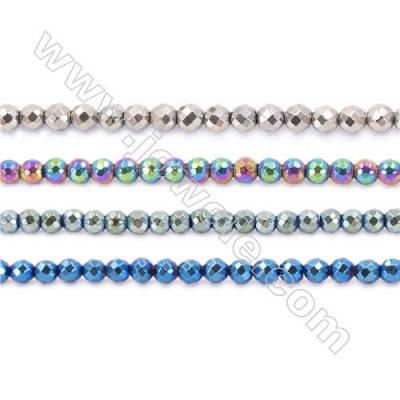 Various Hematite Beads Strand, Faceted Round, Diameter 6mm, hole 1mm, about 67 beads/strand, 15~16""