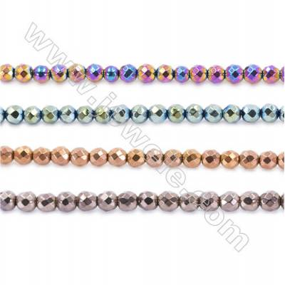 Various Color Hematite Beads Strand, Faceted Round, Diameter 4mm, hole 1mm, about 100 beads/strand, 15~16""