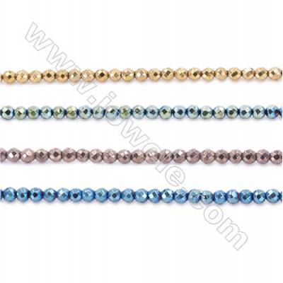 Various Color Hematite Beads Strand, Faceted Round, Diameter 3mm, hole 1mm, about 135 beads/strand, 15~16""