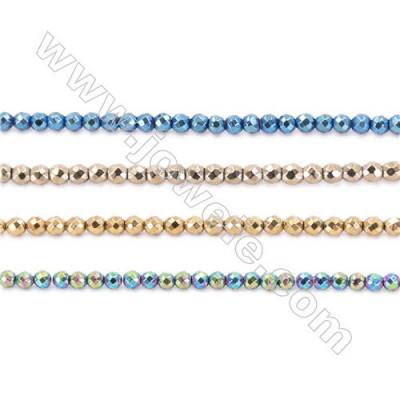 Various Color Hematite Beads Strand, Faceted Round, Diameter 2mm, hole 1mm, about 200 beads/strand, 15~16""