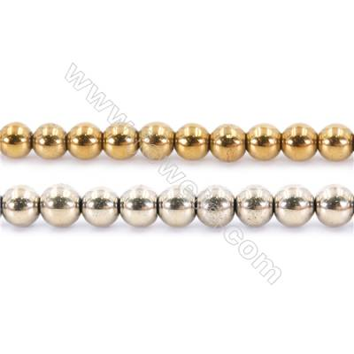 Multi-Color Plating Hematite Beads Strand, Round, Diameter 10mm, hole 1.5mm, about 40 beads/strand, 15~16""