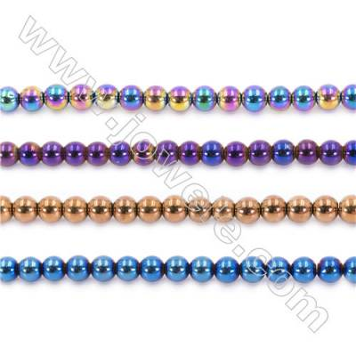 Various Color Plating Hematite Beads Strand, Round, Diameter 8mm, hole 1.5mm, about 50 beads/strand,15~16""