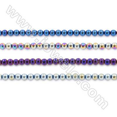 Various Color Plating Hematite Beads Strand, Round, Diameter 6mm, hole 1.5mm, about 67 beads/strand, 15~16""