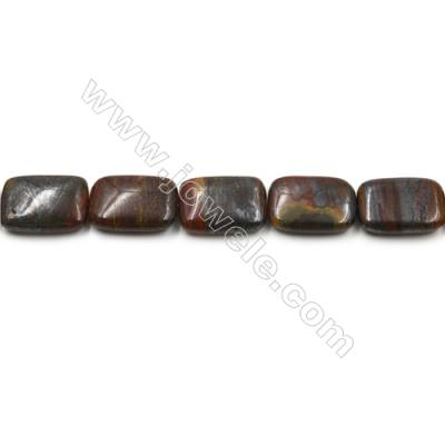"Natural Iron Tiger Eye Gemstone Bead Strand, Rectangle, Size 18x25mm, Hole 0.7mm, 15~16""/strand"