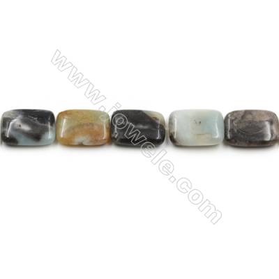 "Natural Black Amazonite Gemstone Bead Strand, Rectangle, Size 18x25mm, Hole 0.7mm, 15~16""/strand"