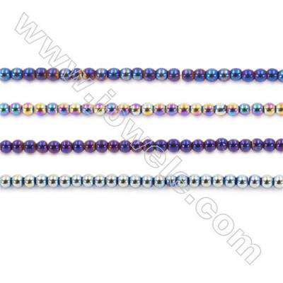 Various Color Plating Hematite Beads Strand, Round, Diameter 3mm, hole 1mm, about 135 beads/strand, 15~16""